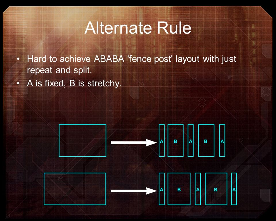 Alternate Rule Hard to achieve ABABA fence post layout with just repeat and split.