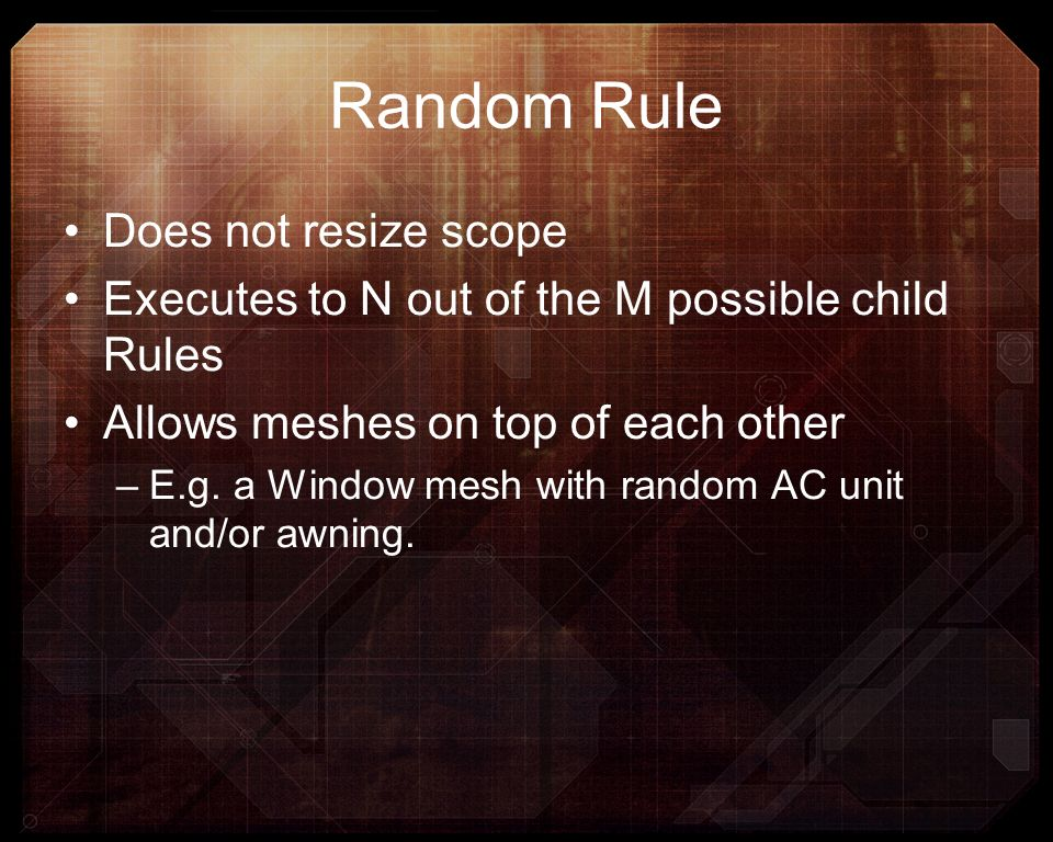 Random Rule Does not resize scope