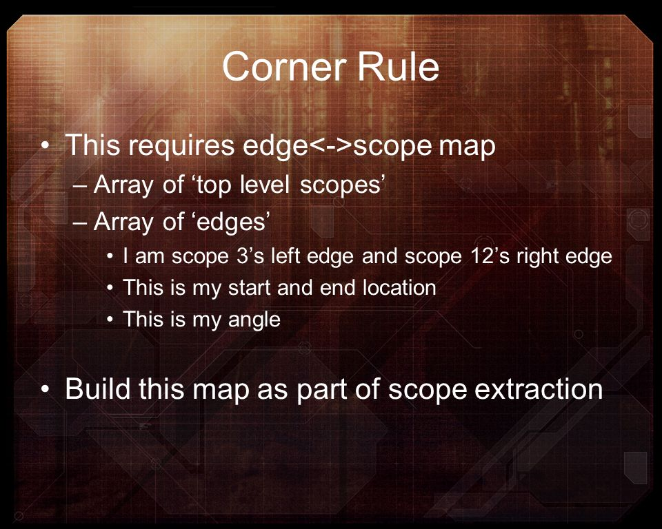 Corner Rule This requires edge<->scope map