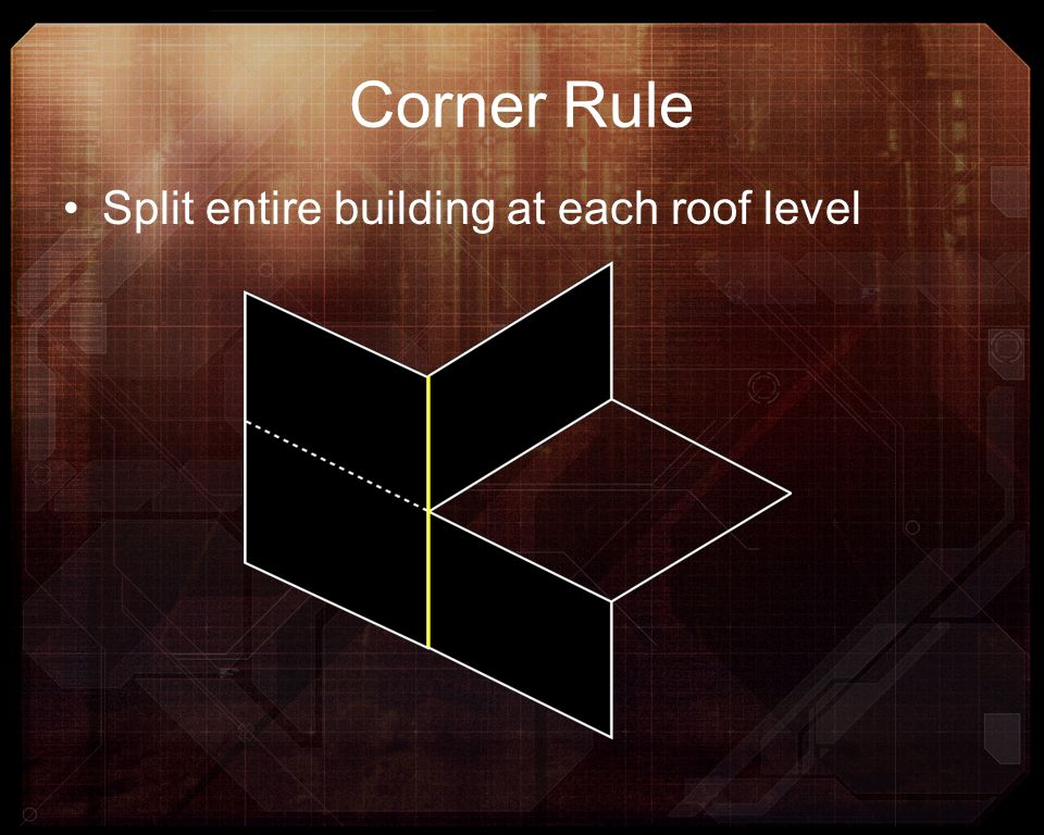 Corner Rule Split entire building at each roof level