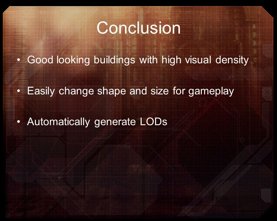 Conclusion Good looking buildings with high visual density