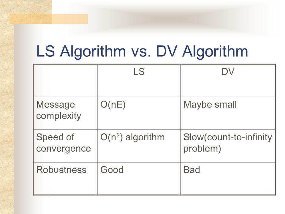 LS Algorithm vs. DV Algorithm