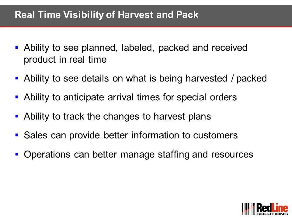 Real Time Visibility of Harvest and Pack