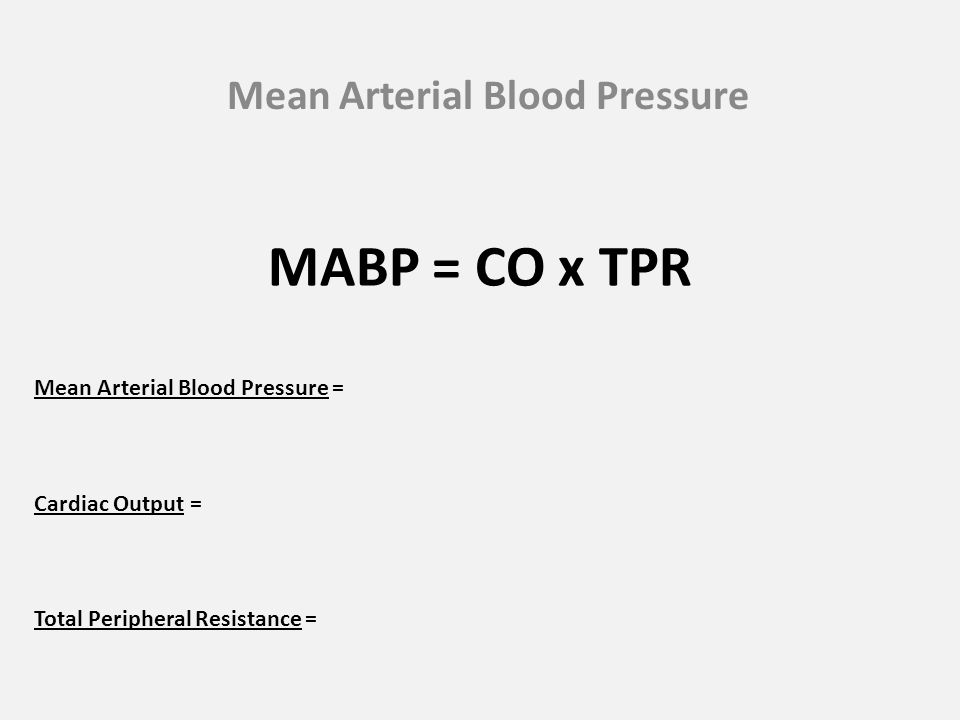 Mean Arterial Blood Pressure