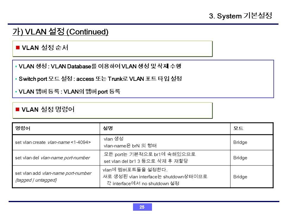 가) VLAN 설정 (Continued) 3. System 기본설정 VLAN 설정 순서 VLAN 설정 명령어