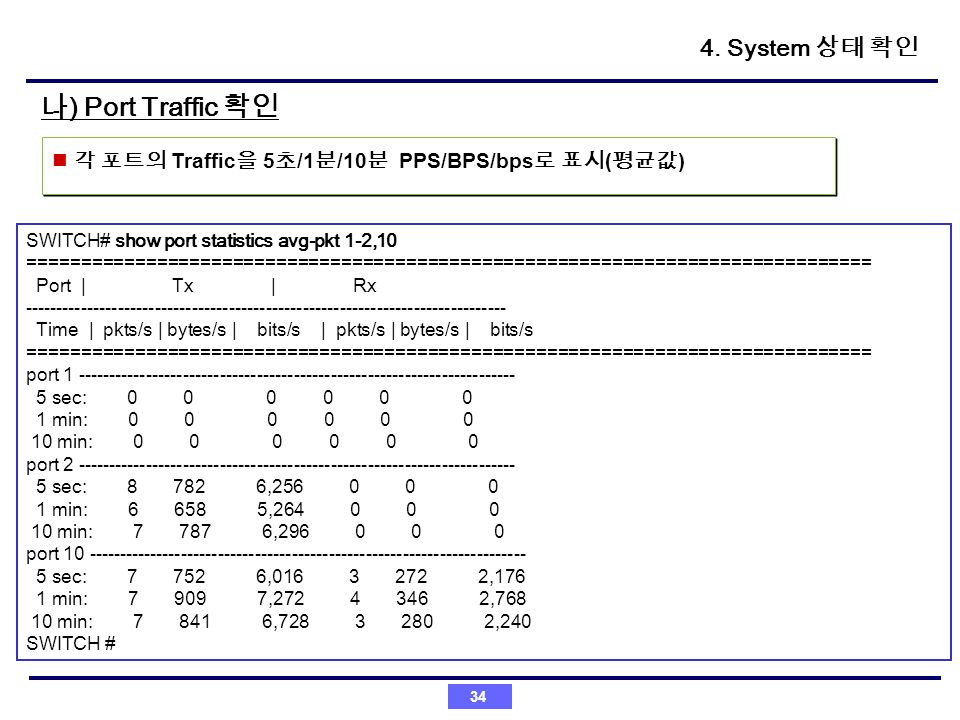 나) Port Traffic 확인 4. System 상태 확인