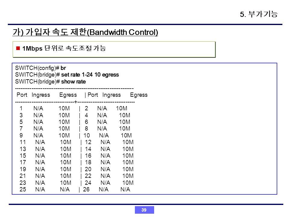 가) 가입자 속도 제한(Bandwidth Control)