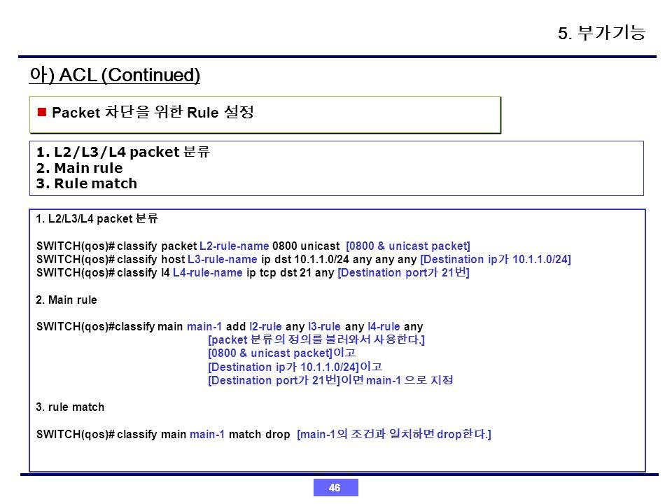 아) ACL (Continued) 5. 부가기능 Packet 차단을 위한 Rule 설정 1. L2/L3/L4 packet 분류
