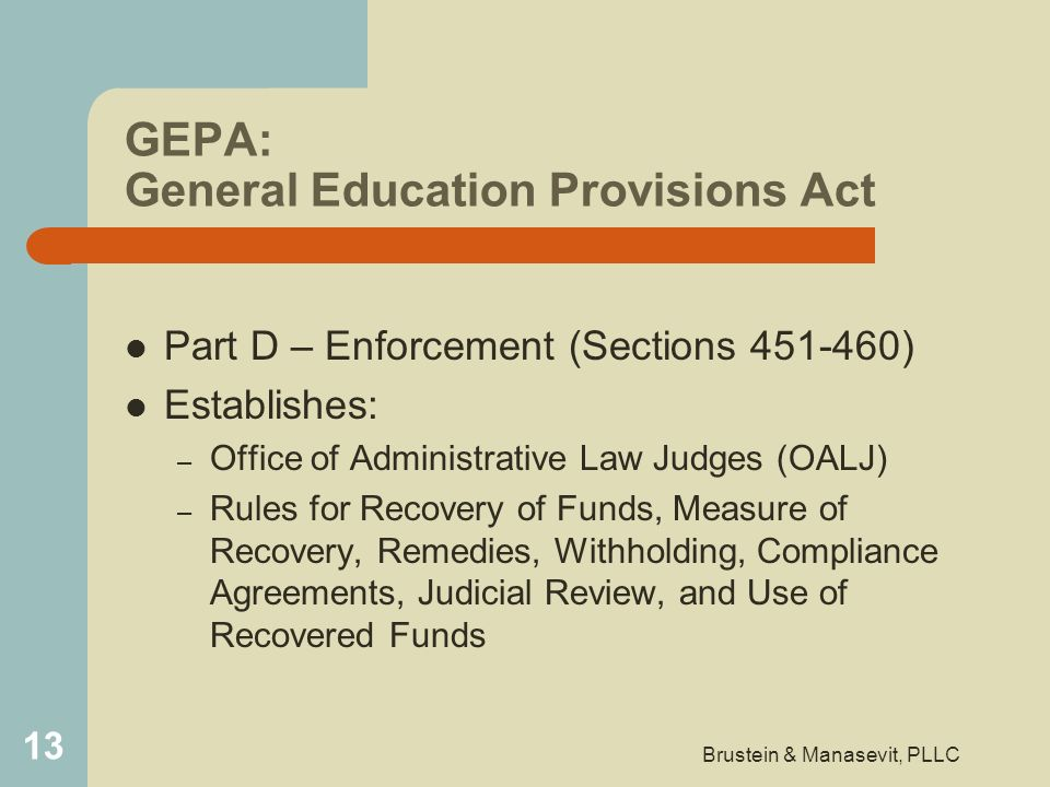 GEPA: General Education Provisions Act