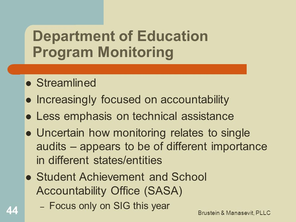 Department of Education Program Monitoring