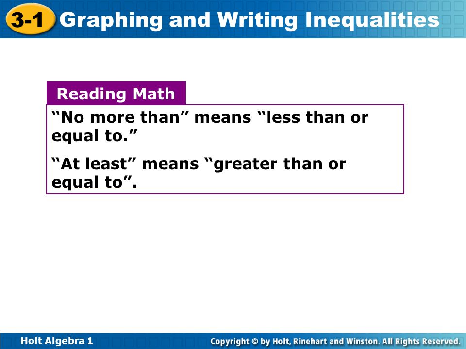 Reading Math No more than means less than or equal to. At least means greater than or equal to .