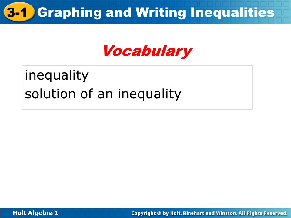 Vocabulary inequality solution of an inequality
