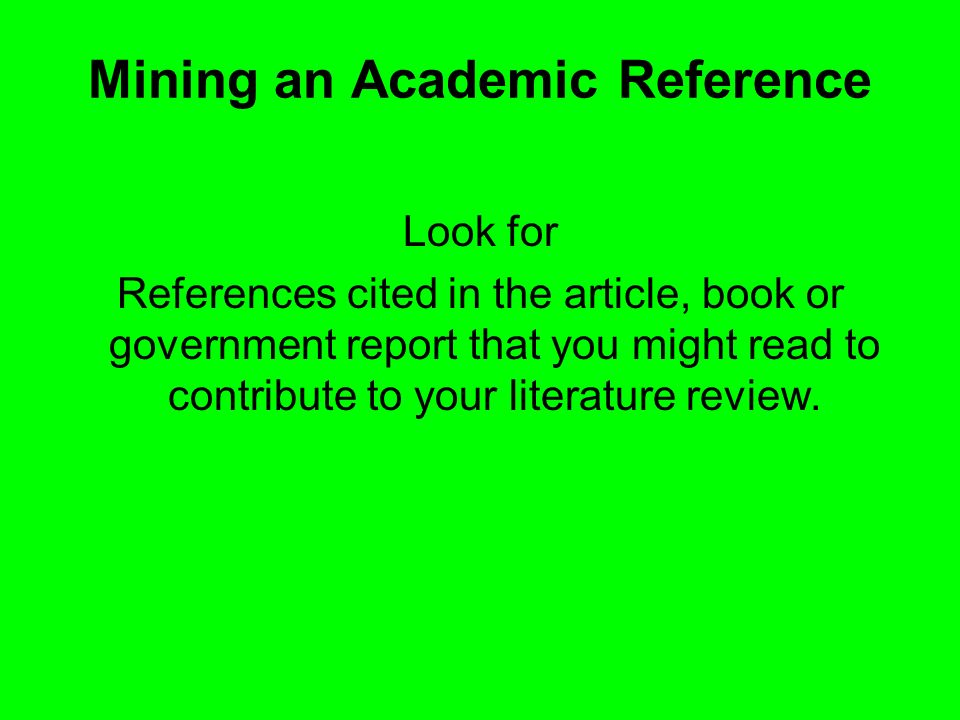 Mining an Academic Reference