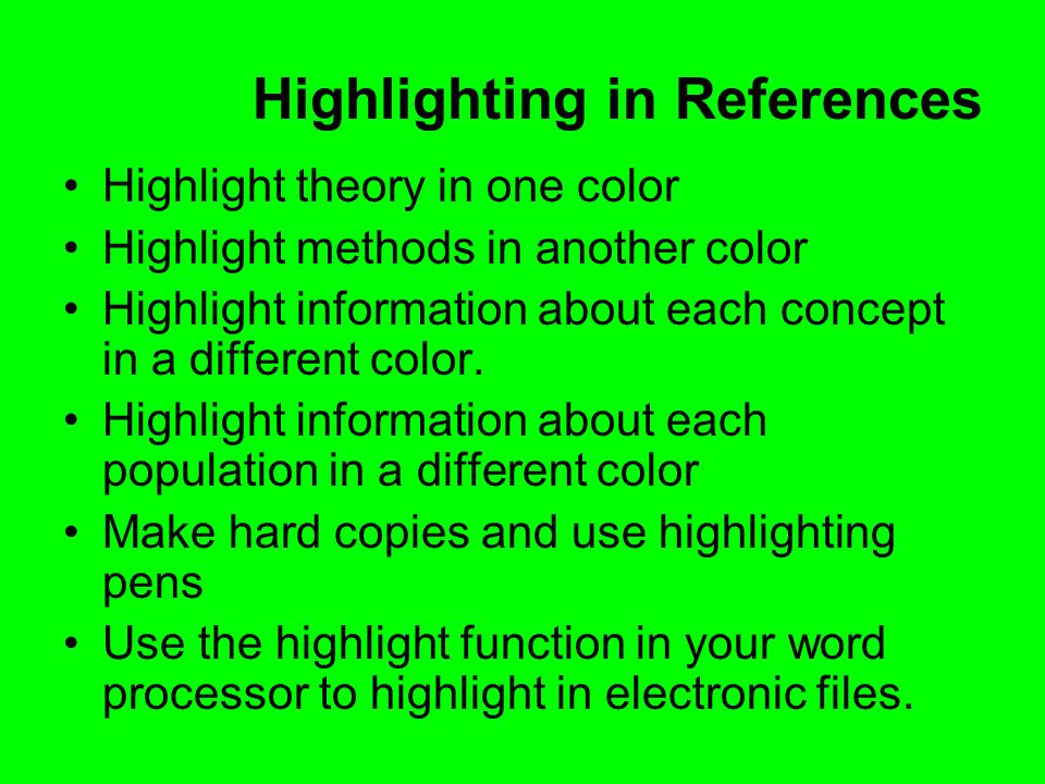 Highlighting in References