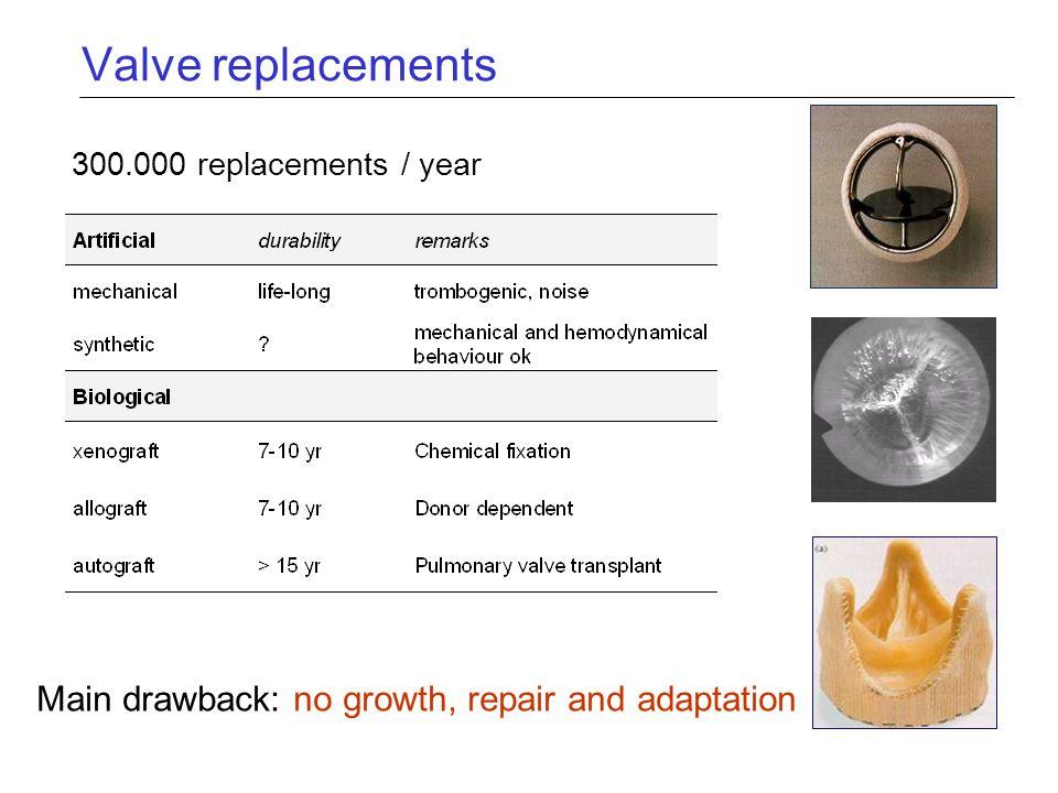 Valve replacements Main drawback: no growth, repair and adaptation