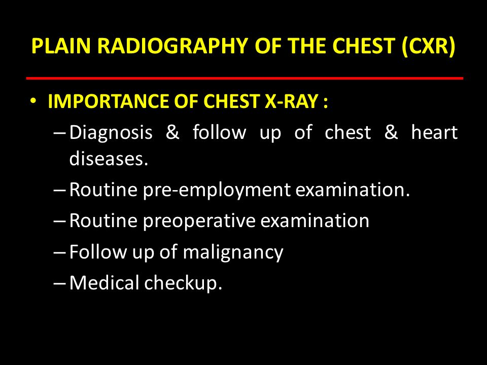 PLAIN RADIOGRAPHY OF THE CHEST (CXR)