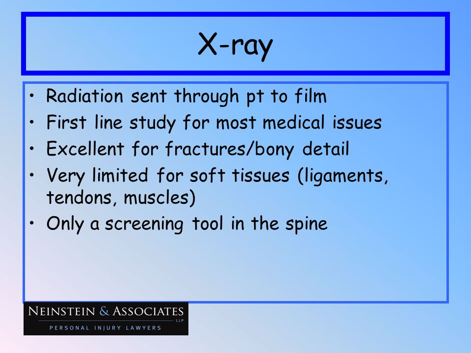 X-ray Radiation sent through pt to film