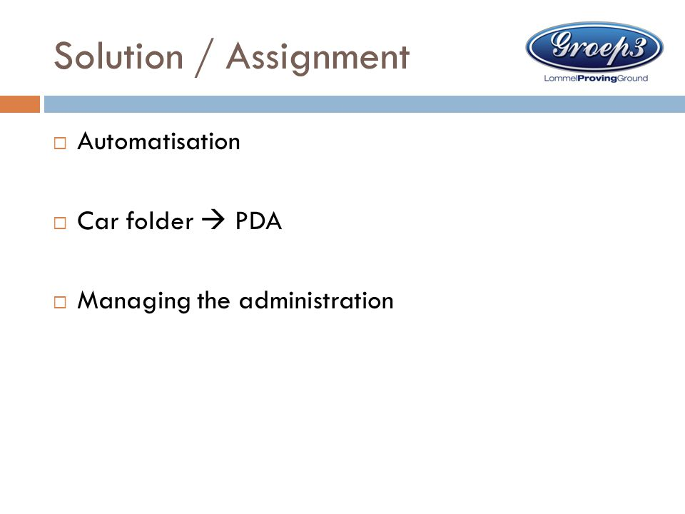 Solution / Assignment Automatisation Car folder  PDA