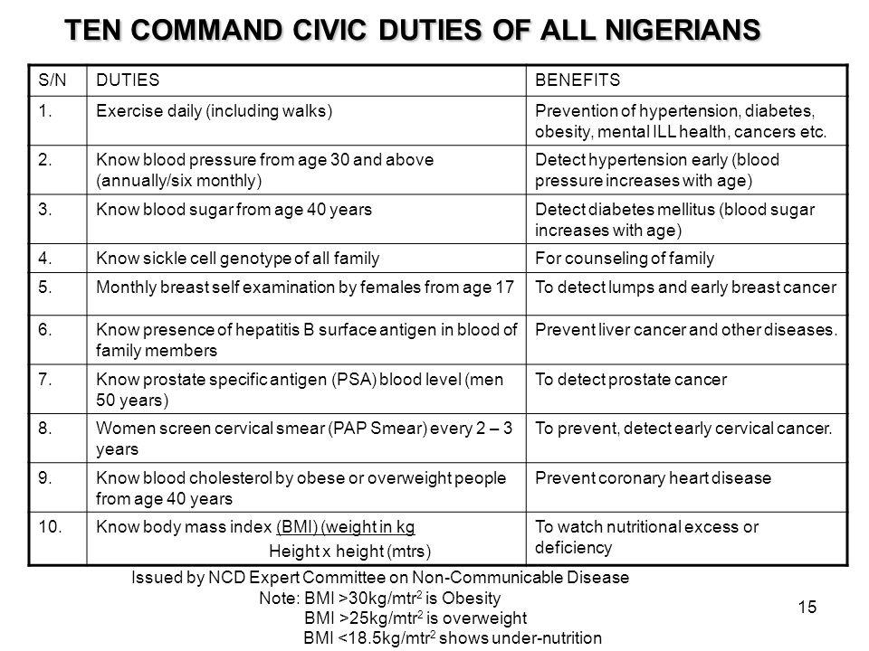 TEN COMMAND CIVIC DUTIES OF ALL NIGERIANS