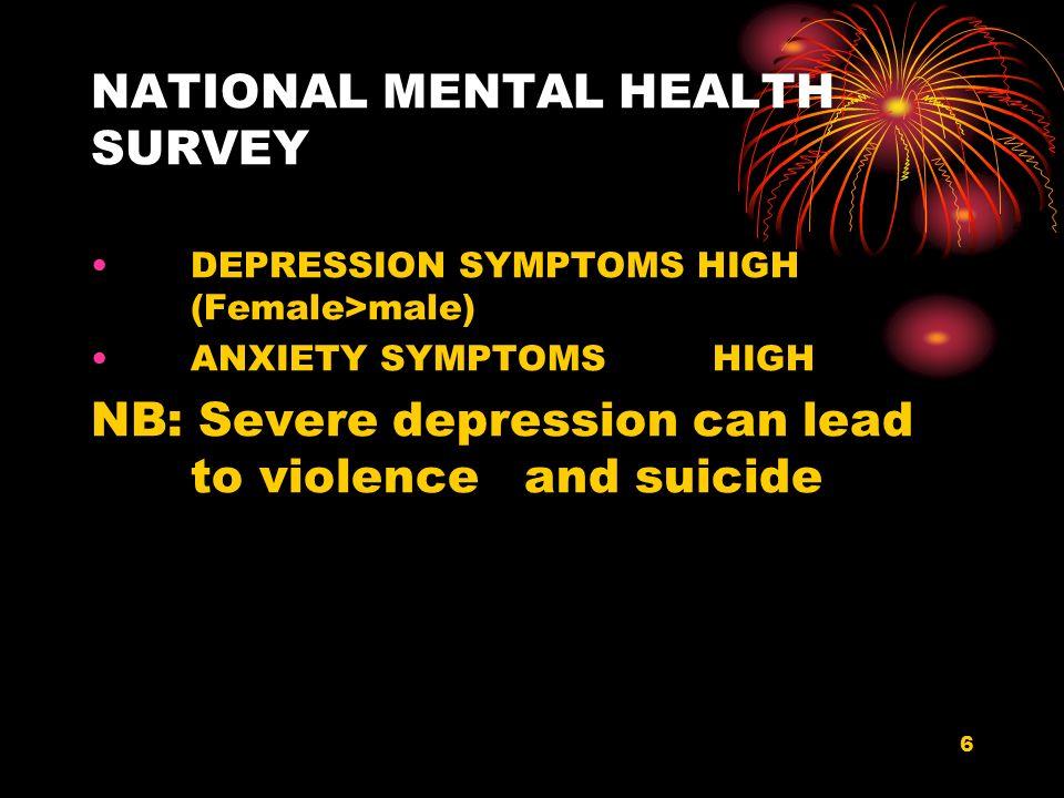 NATIONAL MENTAL HEALTH SURVEY