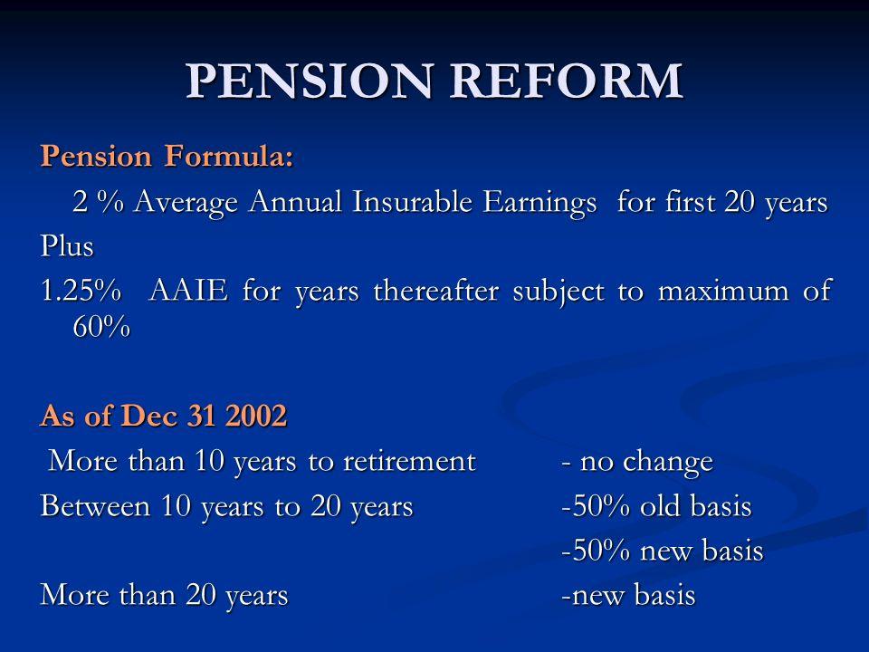 PENSION REFORM Pension Formula: