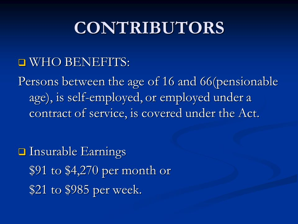 CONTRIBUTORS WHO BENEFITS: