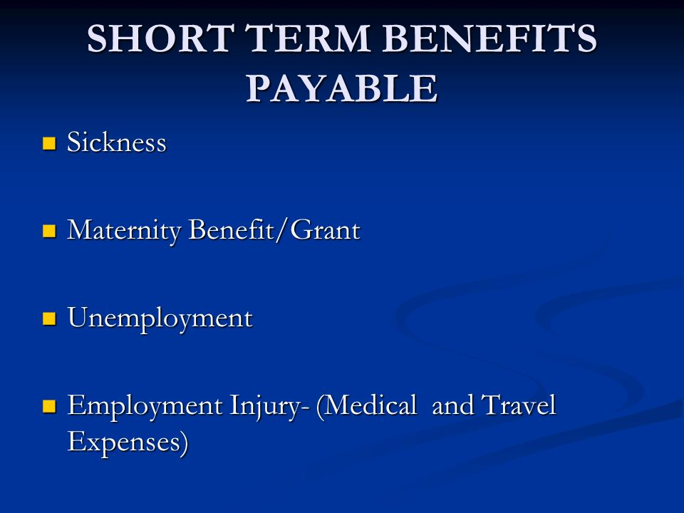 SHORT TERM BENEFITS PAYABLE