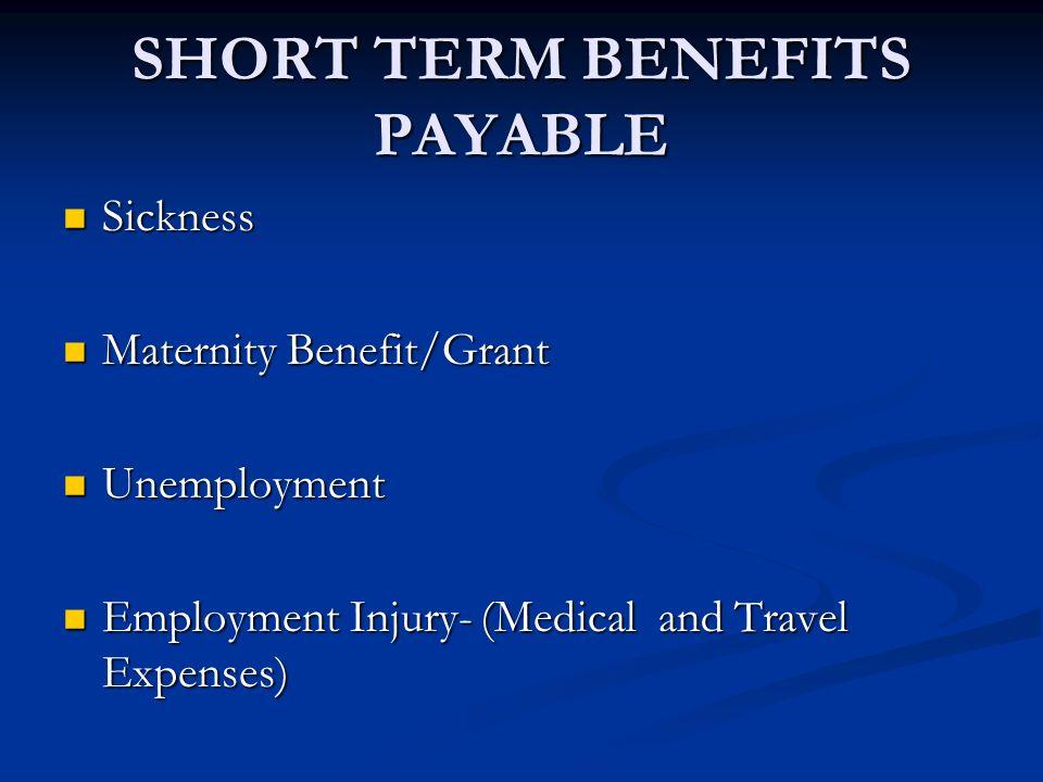 SHORT TERM BENEFITS PAYABLE