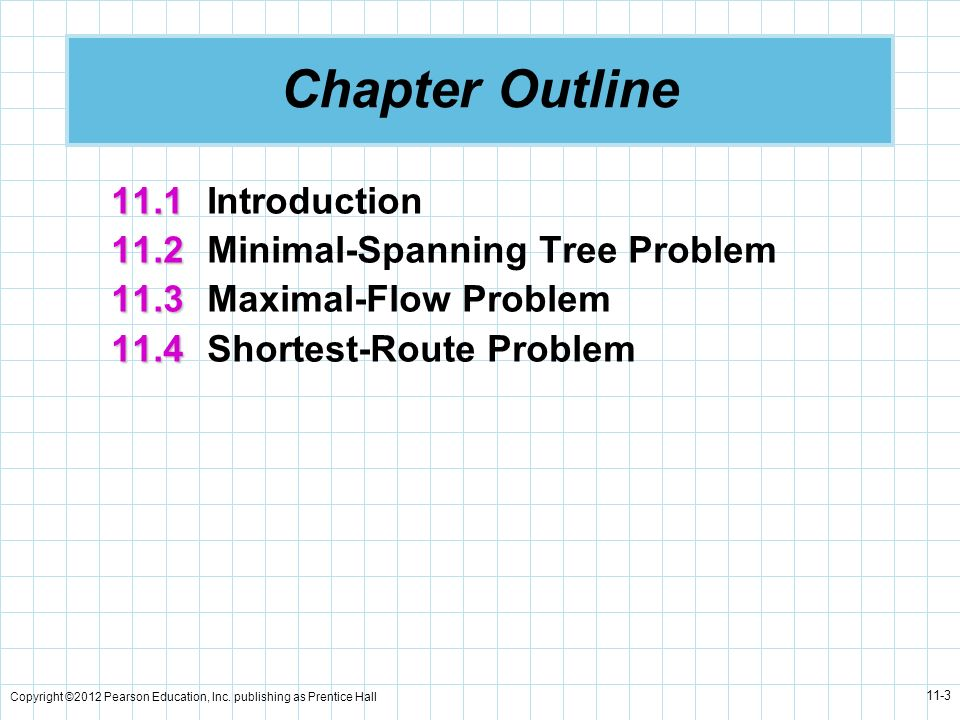 Chapter Outline 11.1 Introduction 11.2 Minimal-Spanning Tree Problem