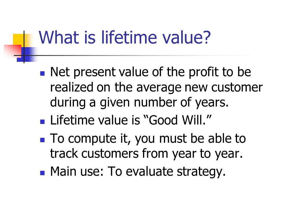 What is lifetime value Net present value of the profit to be realized on the average new customer during a given number of years.