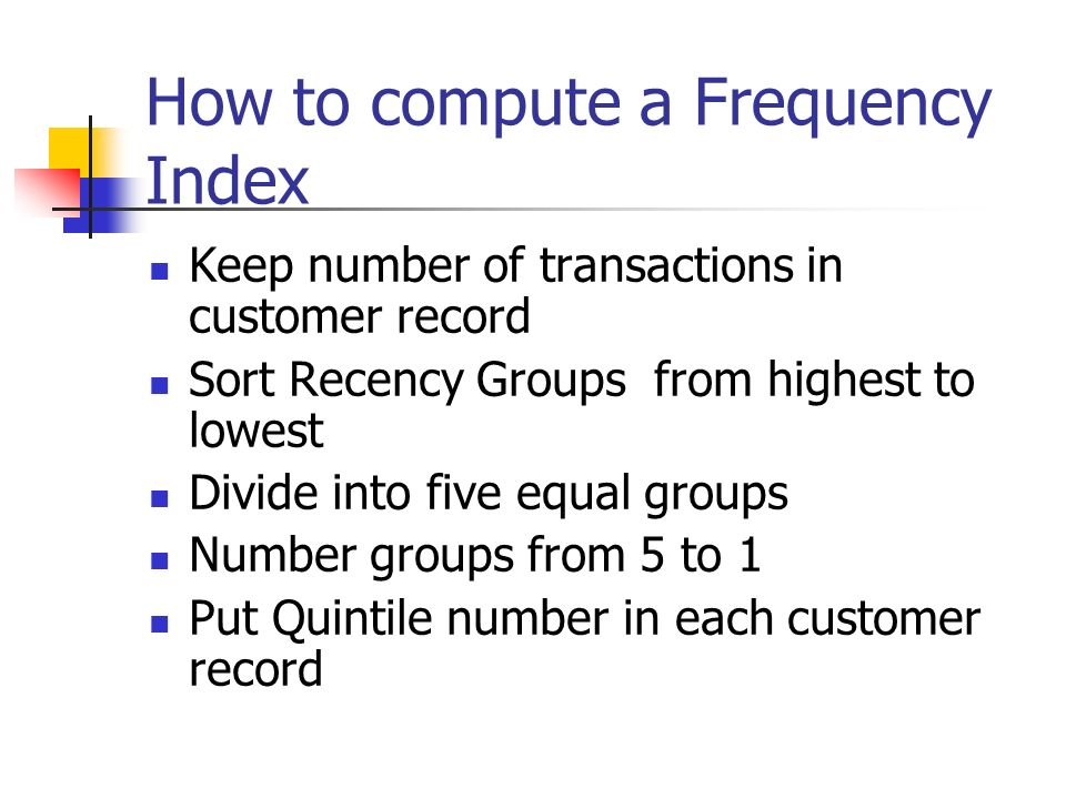 How to compute a Frequency Index
