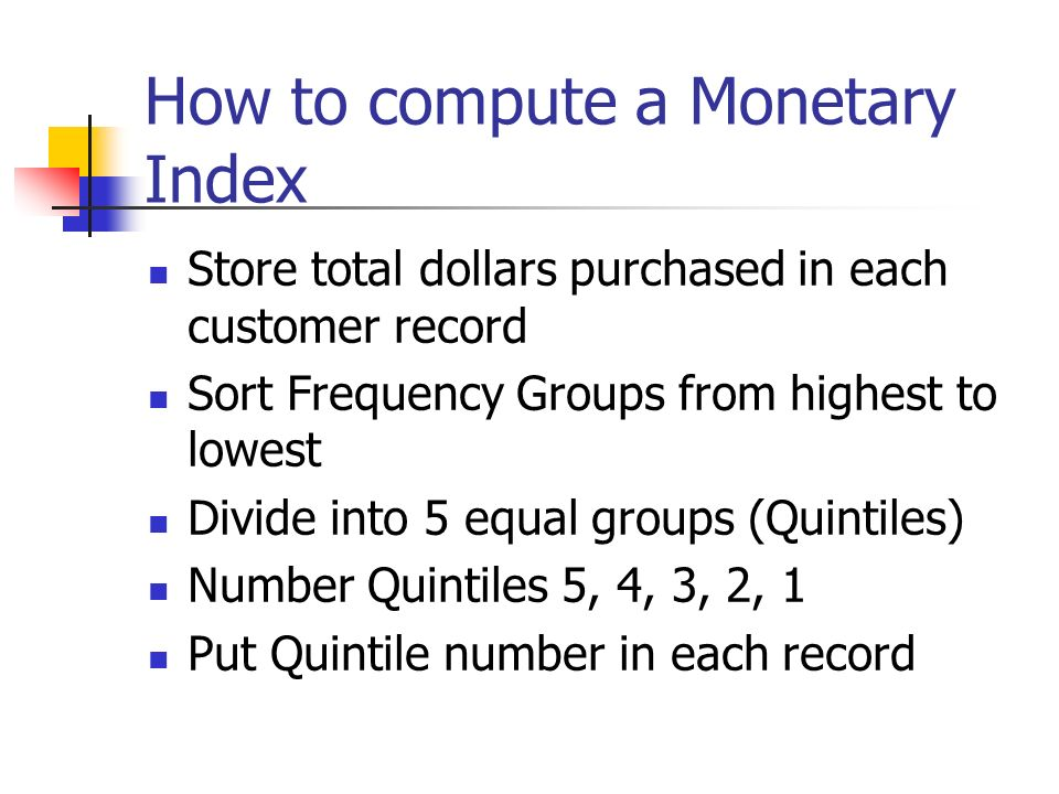 How to compute a Monetary Index