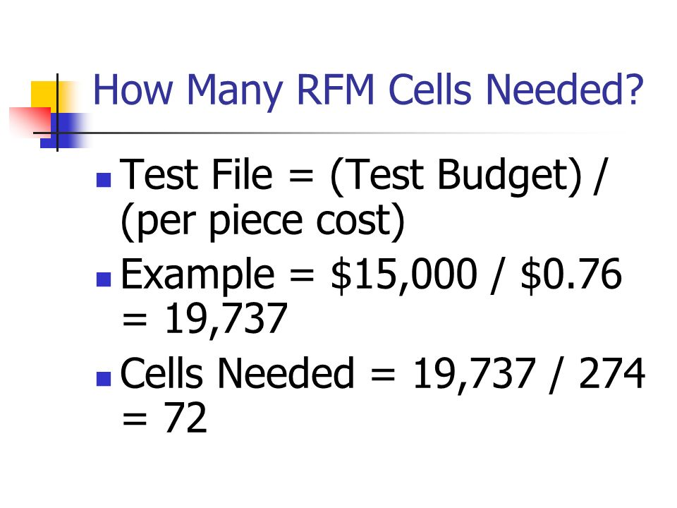 How Many RFM Cells Needed
