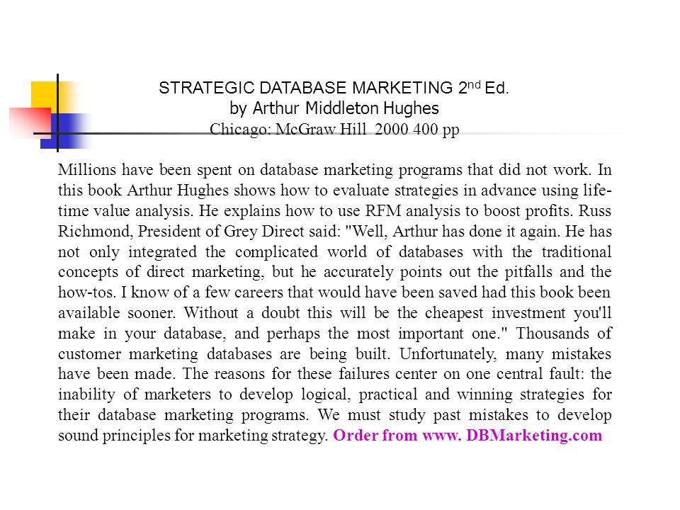 STRATEGIC DATABASE MARKETING 2nd Ed. by Arthur Middleton Hughes
