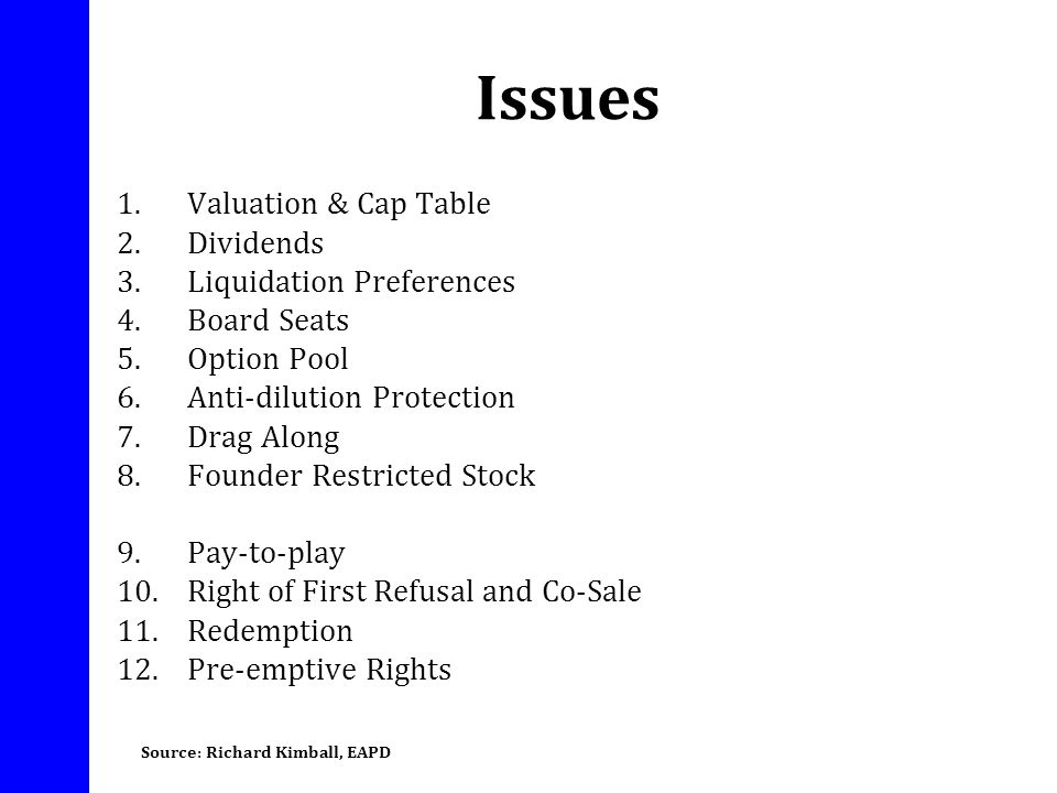 Issues Valuation & Cap Table Dividends Liquidation Preferences