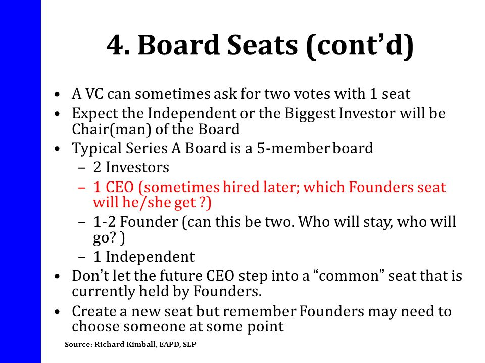4. Board Seats (cont'd) A VC can sometimes ask for two votes with 1 seat.