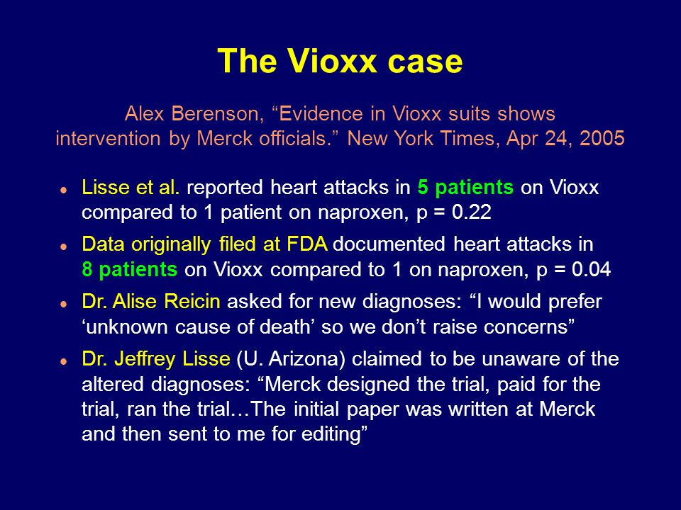 The Vioxx case Alex Berenson, Evidence in Vioxx suits shows
