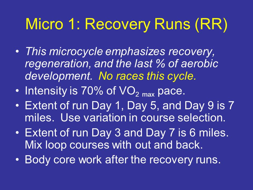 Micro 1: Recovery Runs (RR)