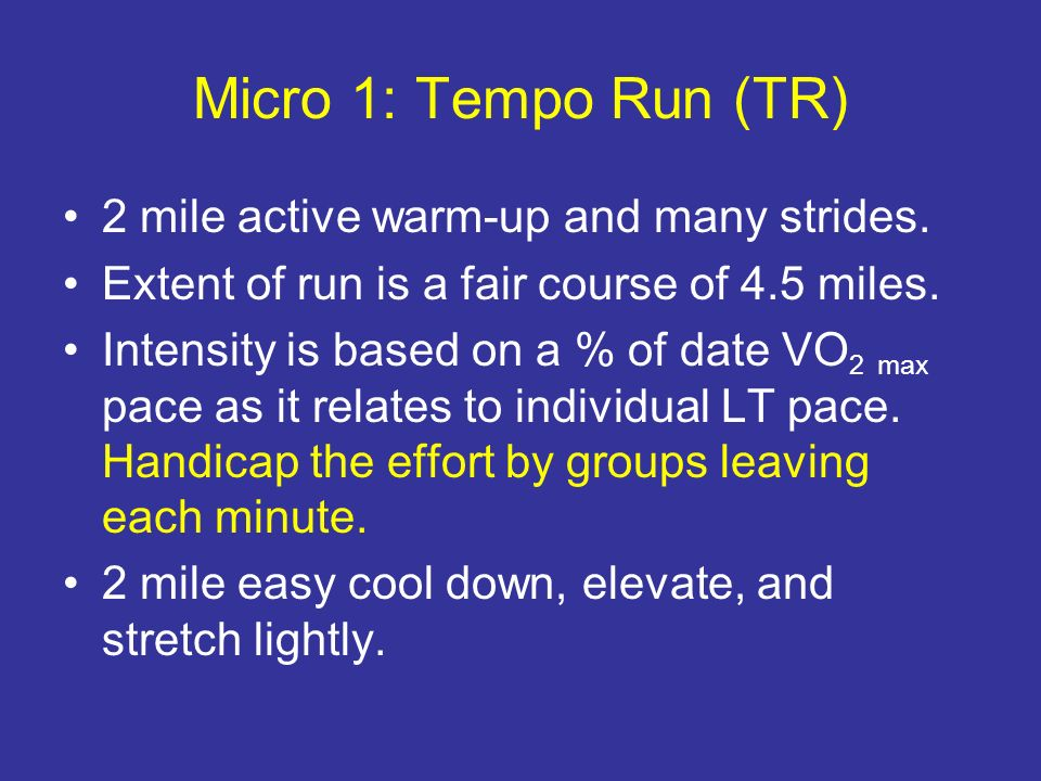 Micro 1: Tempo Run (TR) 2 mile active warm-up and many strides.