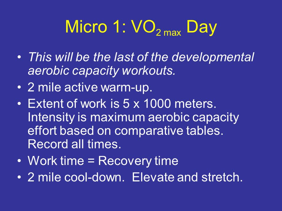 Micro 1: VO2 max Day This will be the last of the developmental aerobic capacity workouts. 2 mile active warm-up.