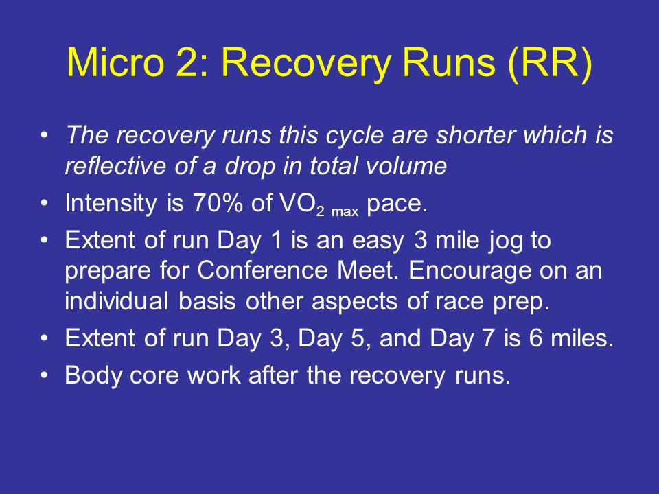 Micro 2: Recovery Runs (RR)