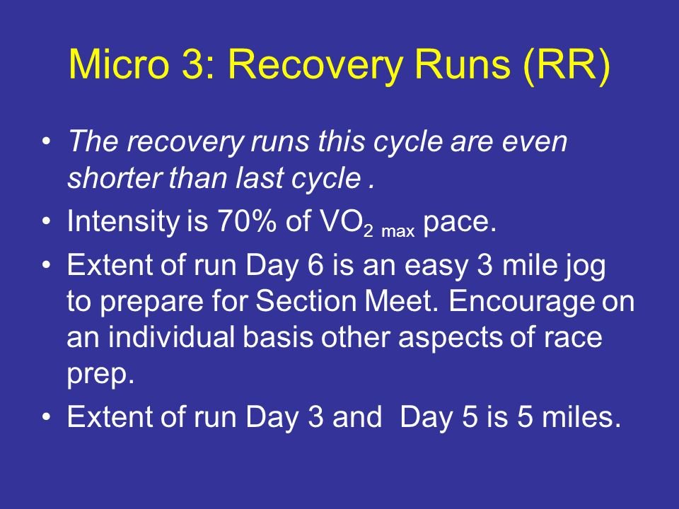 Micro 3: Recovery Runs (RR)