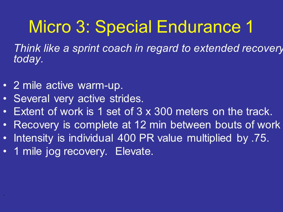 Micro 3: Special Endurance 1