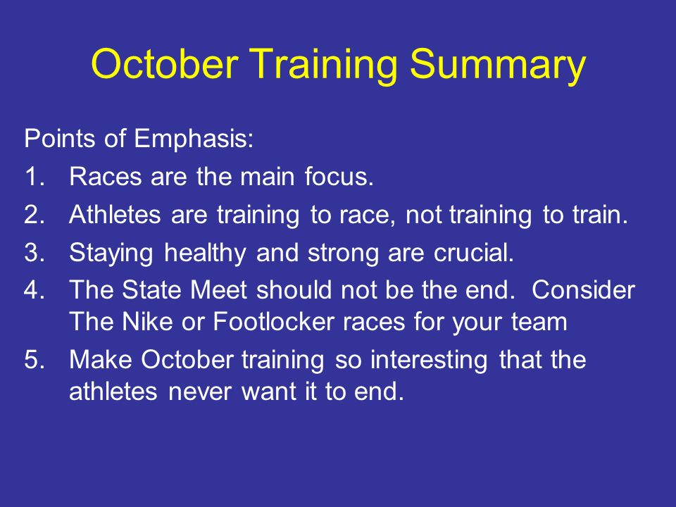 October Training Summary