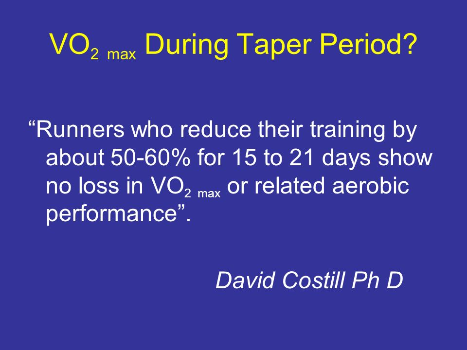 VO2 max During Taper Period