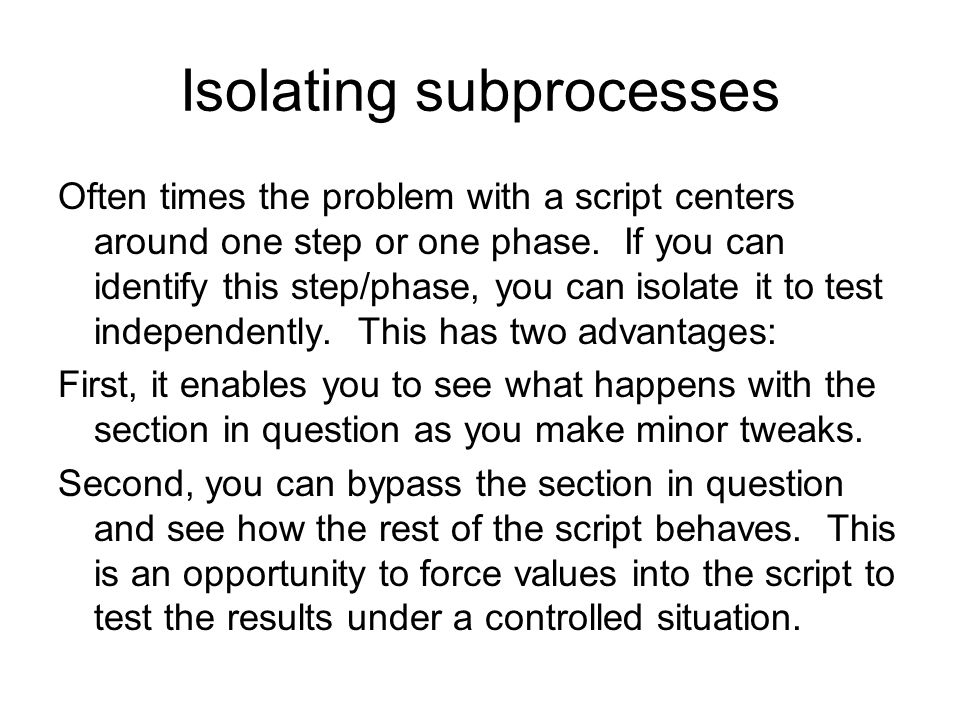 Isolating subprocesses