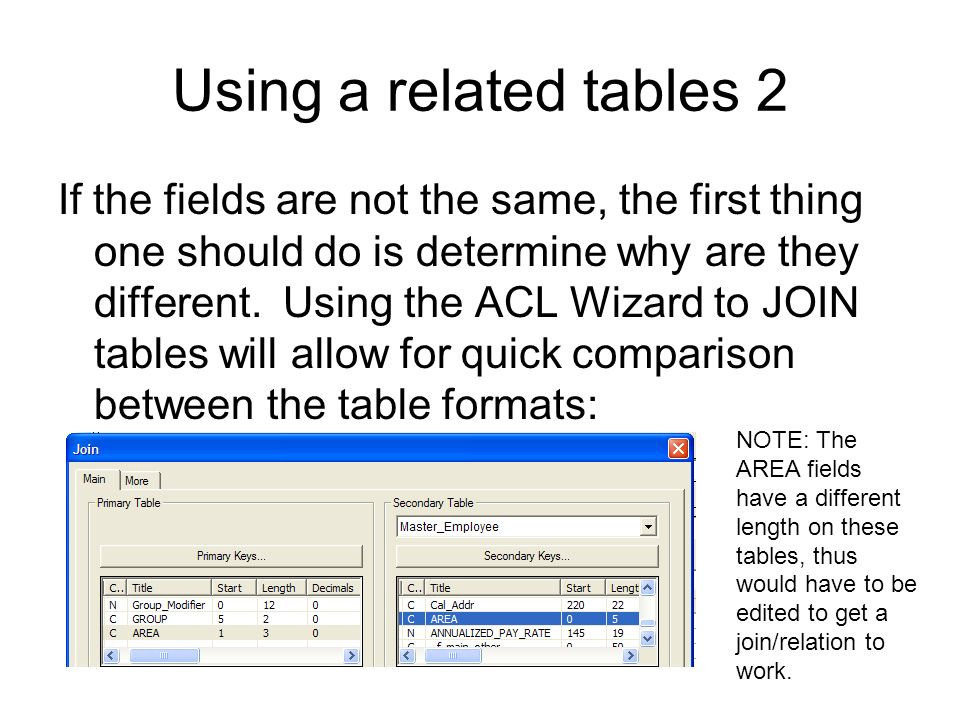 Using a related tables 2