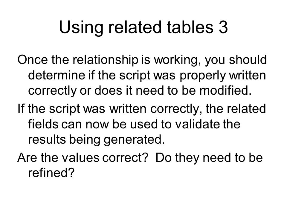 Using related tables 3