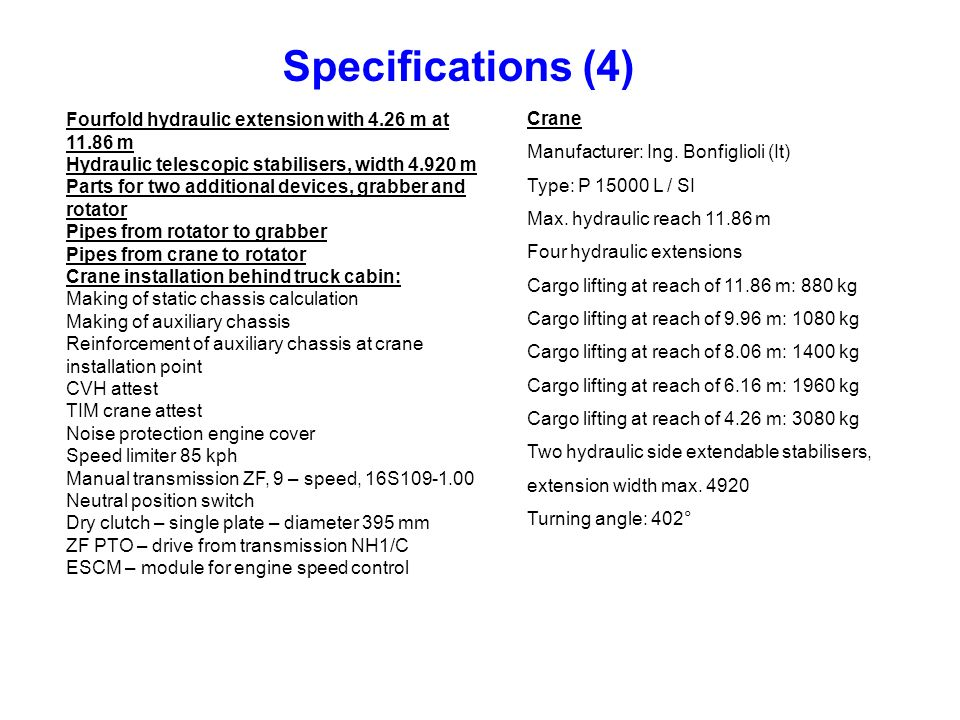 Specifications (4) Crane