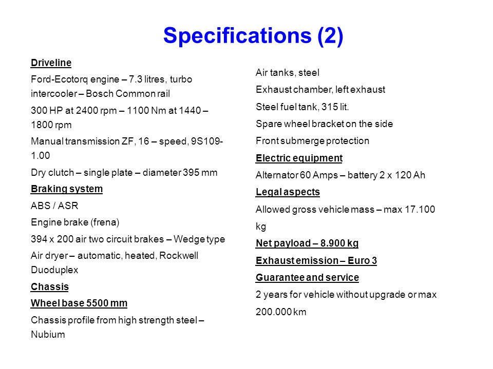 Specifications (2) Driveline